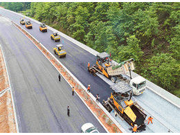 咸潘一级路铺设钢塑土工格栅施工案例